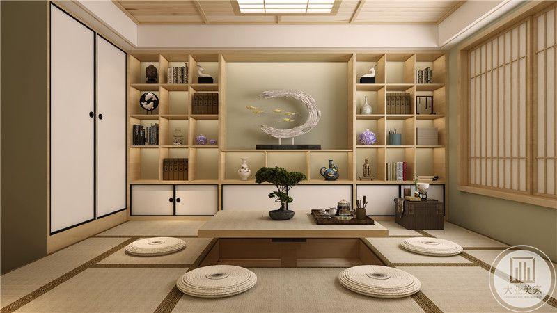 墙面采用实木收纳柜,整齐的摆放在一起。