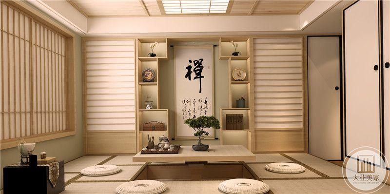 榻榻米采用可升降的方式,中式文字搭配两侧的实木收纳柜,门窗都采用日式风格。