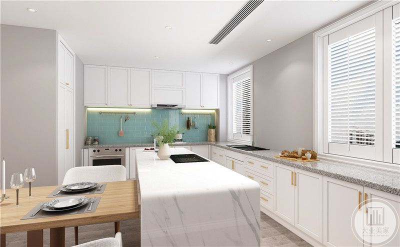 餐厅装修效果图:餐厅设计成开放式厨房,餐桌相衔接的白色大理石操作台。