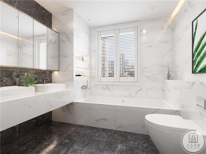 卫生间装修效果图:卫生间的浴室,形成自然的干湿分离。
