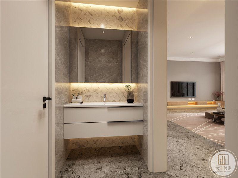 卫生间采用类似马赛克砖的效果,地面铺设灰色花纹砖。
