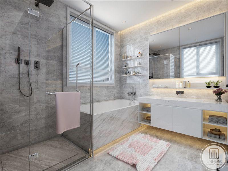 主卫湿区直接放置浴缸,墙面地面都铺设相同的灰色花纹砖,洗手台采用白色瓷砖。