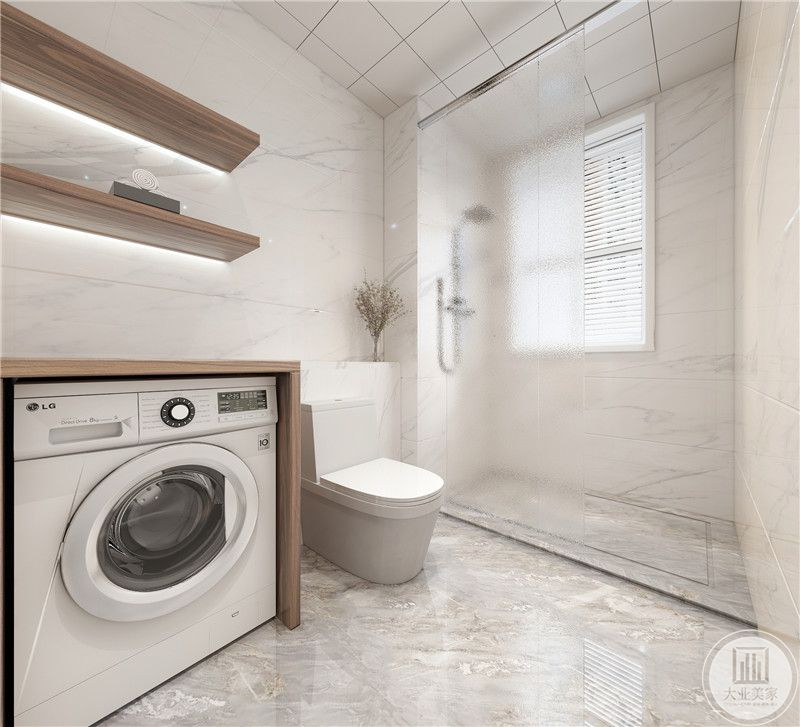 卫生间形成自然的干湿分离,干区瓷砖采用白色瓷砖,湿区采用深灰色瓷砖,洗衣机外侧使用深色实木板。