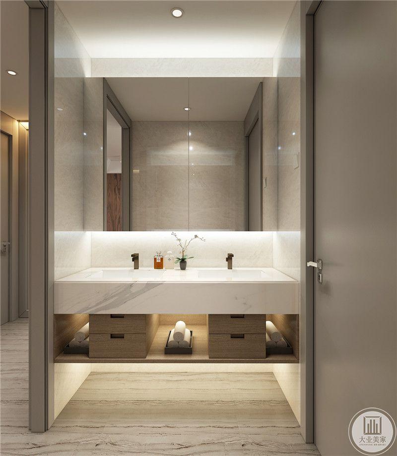 卫生间盥洗室墙面采用白色瓷砖,地面铺设木纹砖。