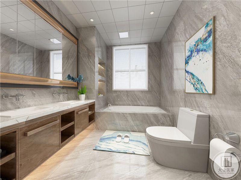 卫生间采用干湿分离,湿区直接做一个浴缸,干区采用多个洗手盆的设计。