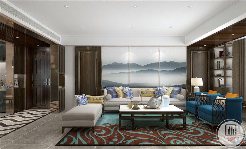 客厅沙发墙采用蓝色中式山水画,两侧采用红木护墙板,沙发采用灰蓝搭配,茶几采用中式现代风格装饰。