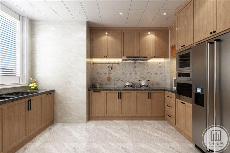 木质厨房,文艺复古,橱柜设计增加了收纳空间,美观实用。