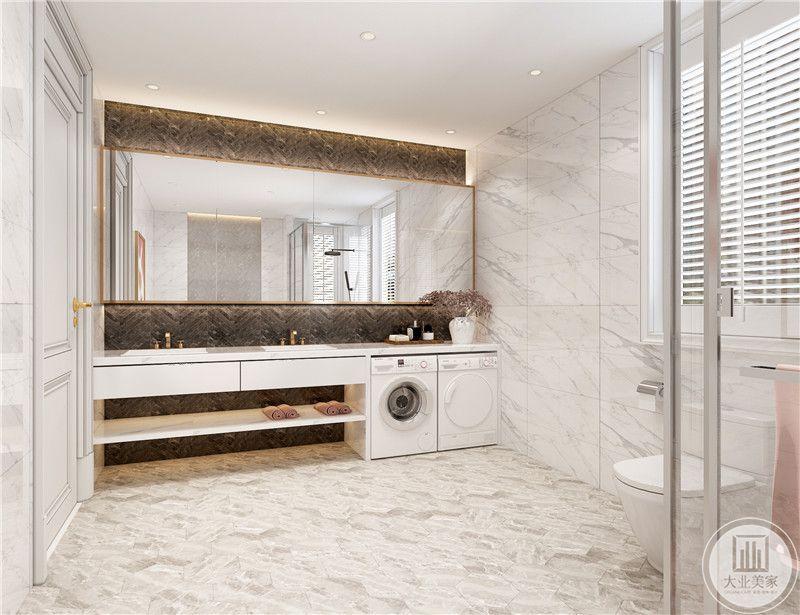 双式洗手台,缓解清晨用水紧张,嵌入式洗衣机不占据空间。