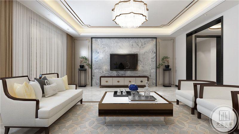 客厅电视墙是大理石台面,十分自然简约。
