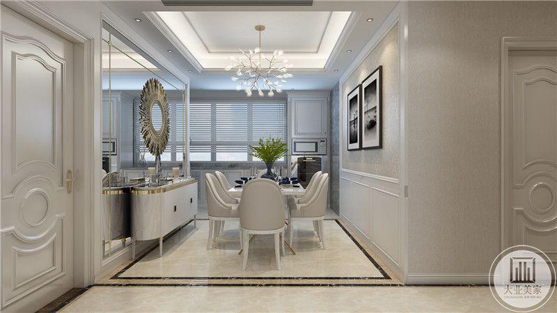 餐厅餐桌餐椅采用白色现代风格,餐桌一侧的墙面采用镜面,镜面采用圆形金属装饰。