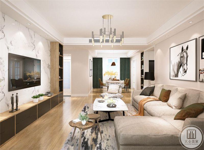 客厅是浅木色的地板与浅色的布艺沙发
