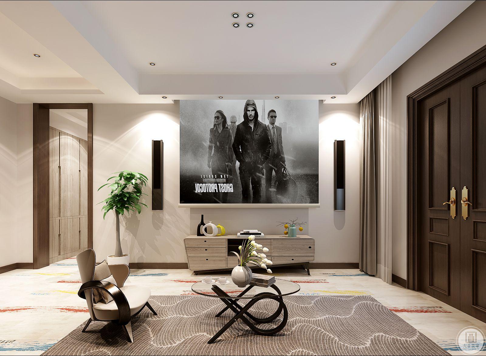 客厅线条纹样的地毯十分现代化,上面是精致小巧的茶几,可以看得到电视被投影幕布取代,下面的浅色电视柜做成不规则的样式。