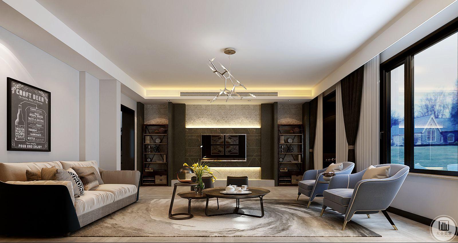 地面采用木纹砖,搭配白色地毯,浅色沙发搭配金属框架的原木茶几。