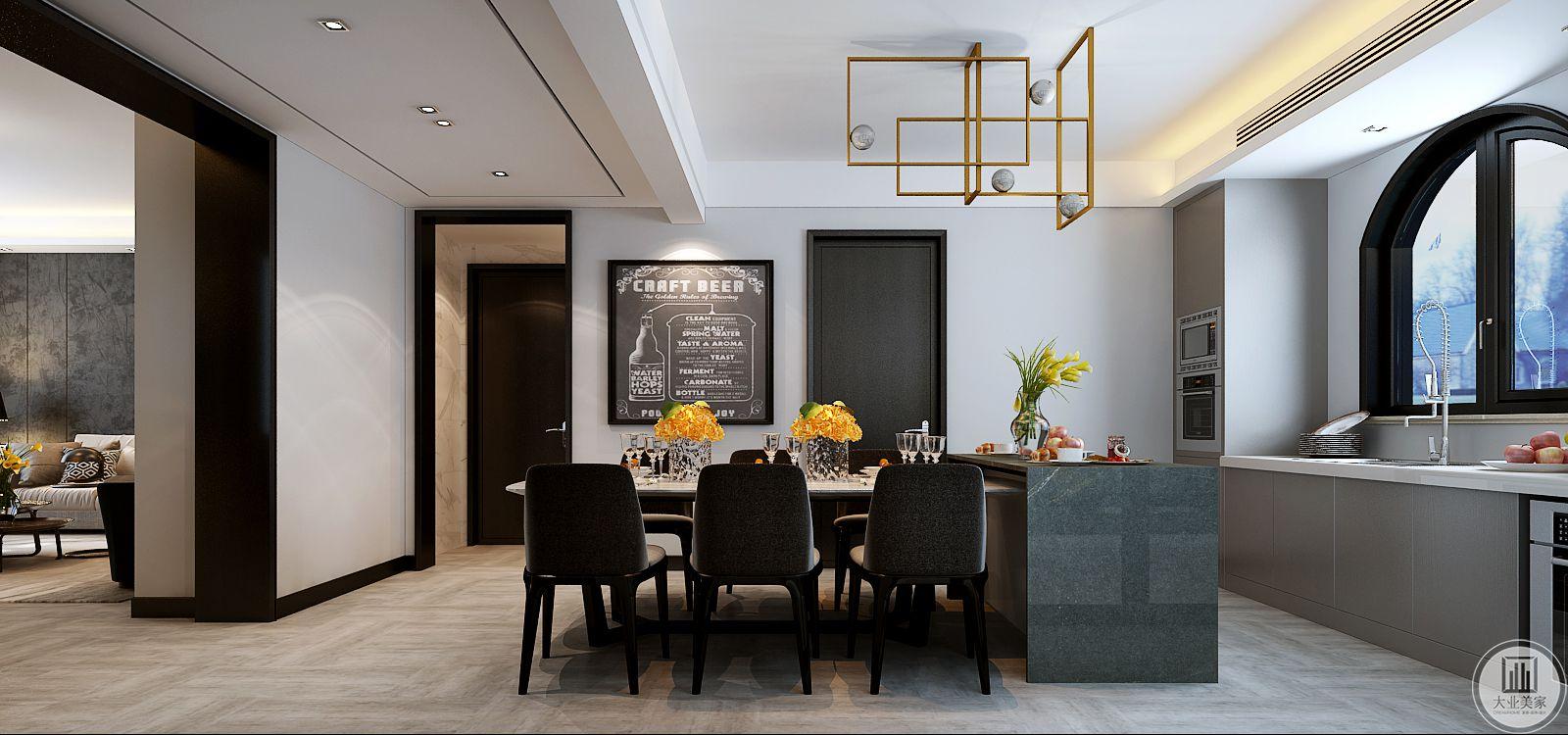 餐桌餐椅采用现代风格,餐桌的一侧是蓝色操作台。