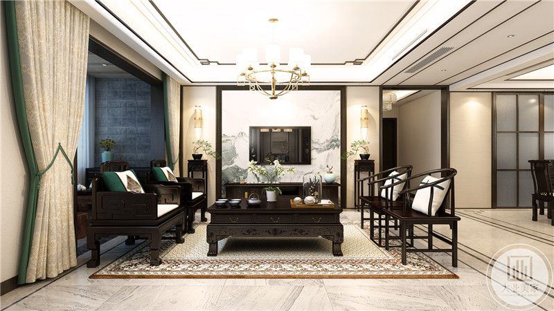 客厅电视墙是简洁流畅的中式山水画面作为背景。