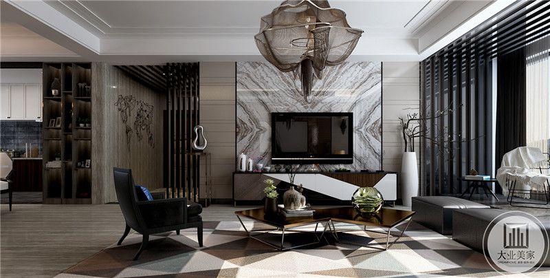 客厅影视墙采用花纹砖,电视柜采用现代风格装饰。