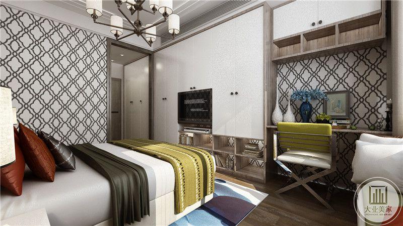 卧室是一个简约的单人床,设置了电视机和书桌。