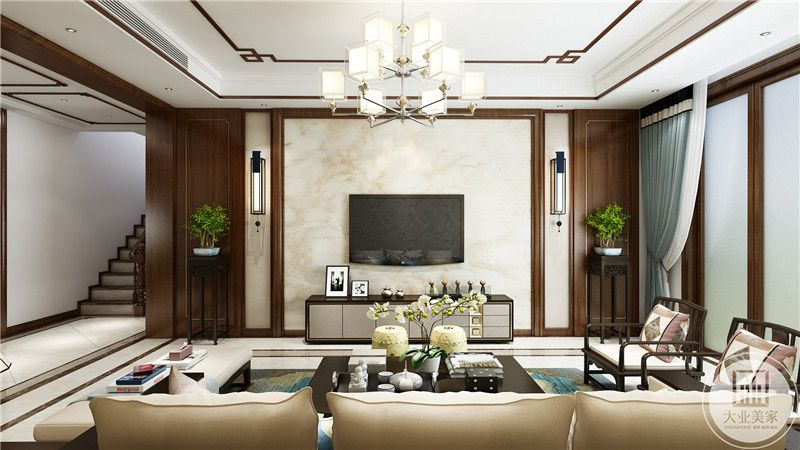 客厅影视墙采用白色瓷砖,两侧采用红木护墙板,电视柜采用黑白相间的现代风格设计。