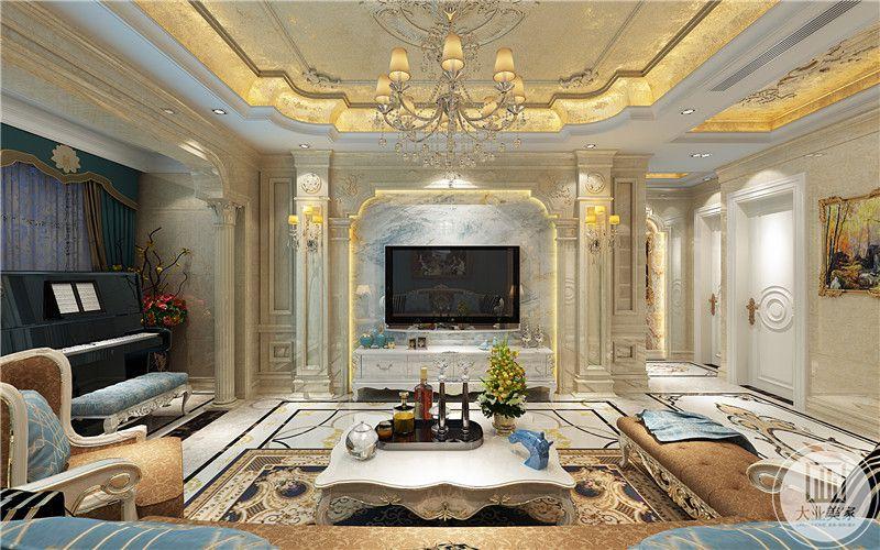 客厅电视墙简约华丽,白色的优雅色调与整个空间十分相配。