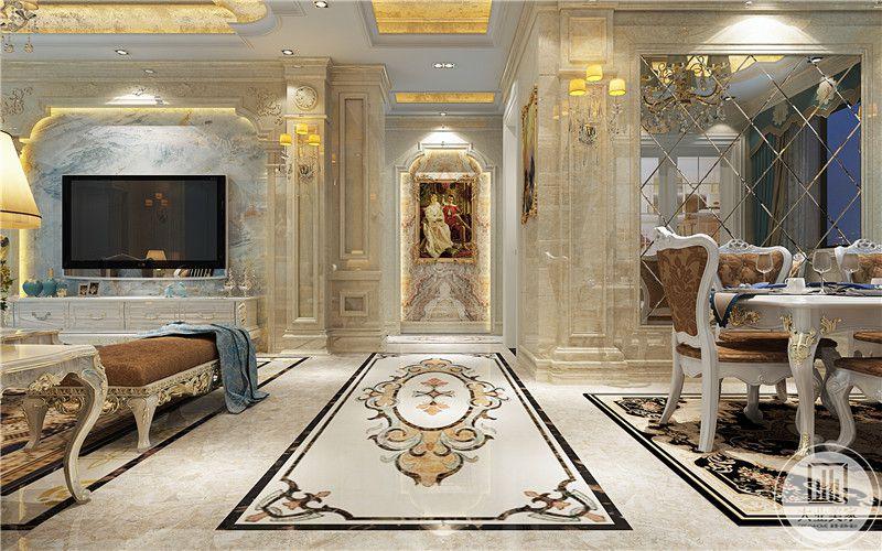 走廊地面是拼花的纹样,走廊尽头是带有宗教气息的装饰画