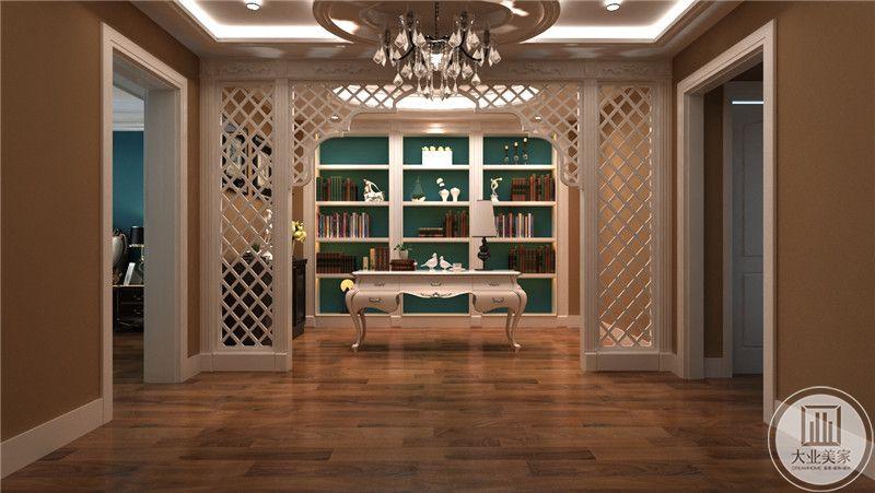 二层书房是西式的设计,白色的桌椅都十分现代化。