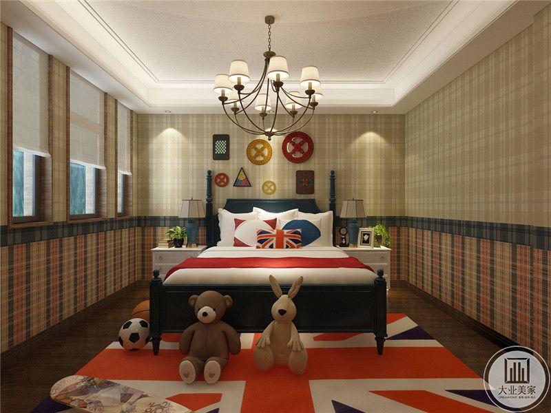 卧室床的两侧采用白色床头柜,床头背景墙采用几何图形装饰。