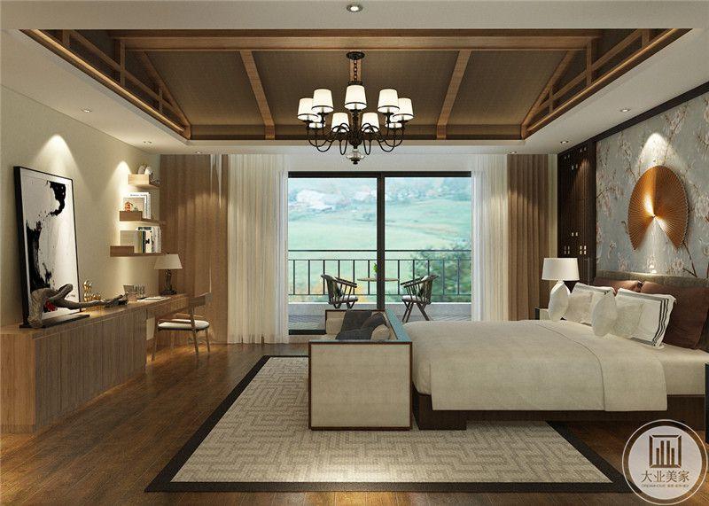 主卧室从这里可以看到卧室和阳台的布局装饰。