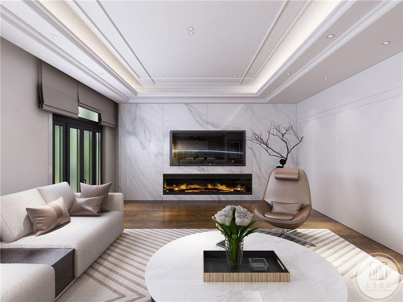 客厅影视墙采用白色大理石,电视下方不设置电视柜,改成了壁炉。