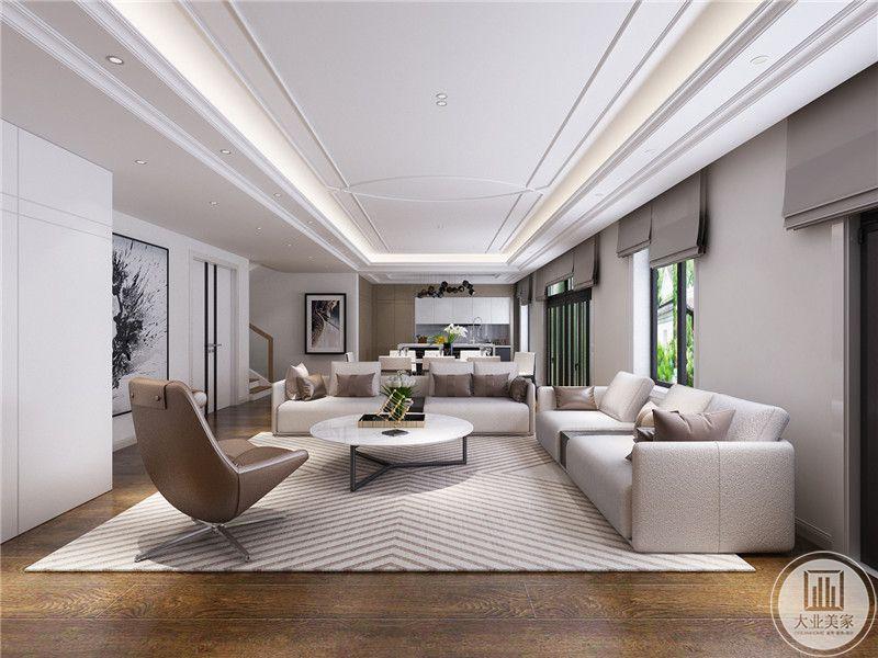 客厅沙发没有背景墙,客厅采用白色布艺沙发,搭配圆形现代风格茶几。