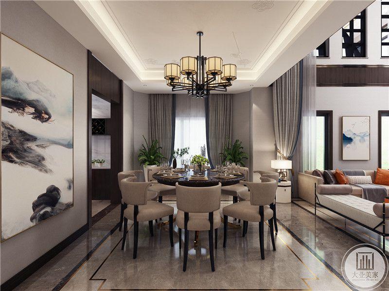 餐厅餐桌采用圆形黑色餐桌,搭配白色餐椅,一侧装饰中式山水画。