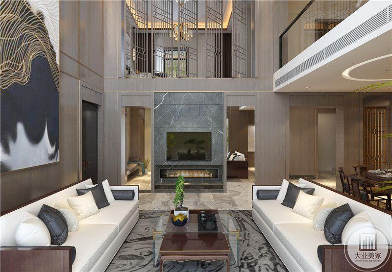 客厅装修效果图:影视墙采用深灰色