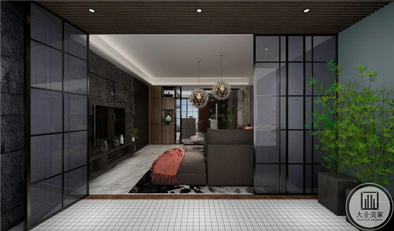 在这个角度能够看见客厅的大致景象,灰尘的色调,简约流畅的线条无不显示了现代感。