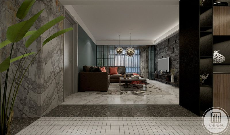 从这里可以看到客厅的布局装饰。