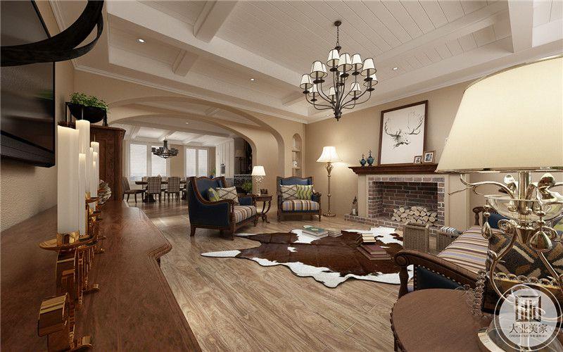 客厅 空间显得十分敞亮地面上不规则的地毯有一种浓浓的复古风情。