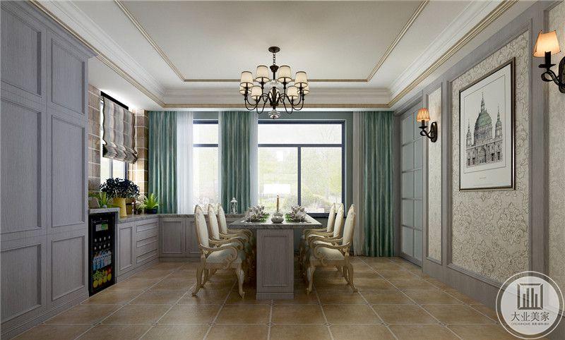 厨房采用开放式厨房,餐桌采用紫色实木装饰,搭配白色欧式餐椅。