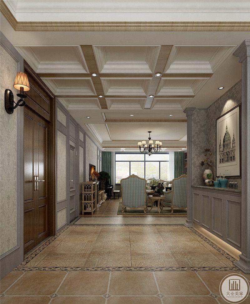 入户空间玄关采用灰色壁纸,搭配紫色实木装饰, 墙面采用现代景物画装饰。