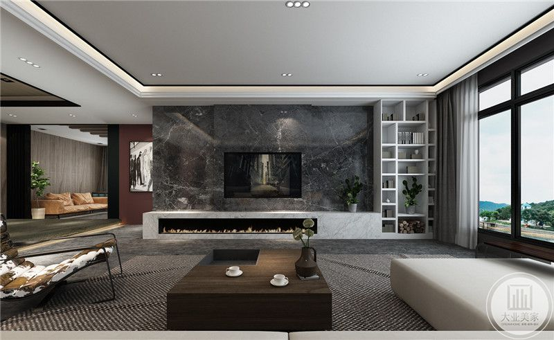 电视墙是深色的大理石板,右侧做成格子收纳柜。