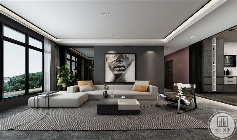 大大的落地窗使客厅空间更显空阔与不羁感。