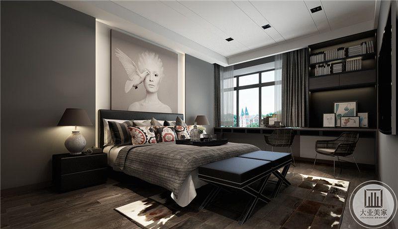 主卧是低沉的灰色调为主,但是巧妙的运用负色使空间艺术感极其强烈。