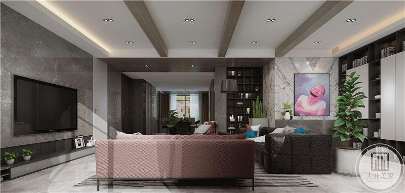 客厅装修效果图:影视墙采用灰色大理石,电视下面做成收纳台面。