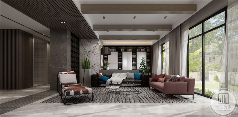 客厅沙发背景墙没有做成传统的装饰墙,而是选择做成收纳空间,摆放书籍和物品,既显示出强大的功能性,又显示了满满的文化感。