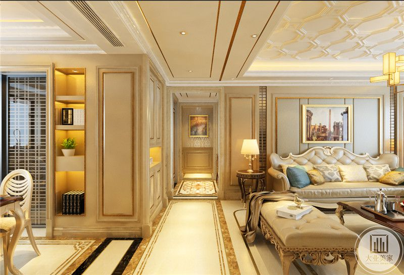走廊尽头是一幅典雅的装饰画,在这个角度能够看到客餐厅的一角。