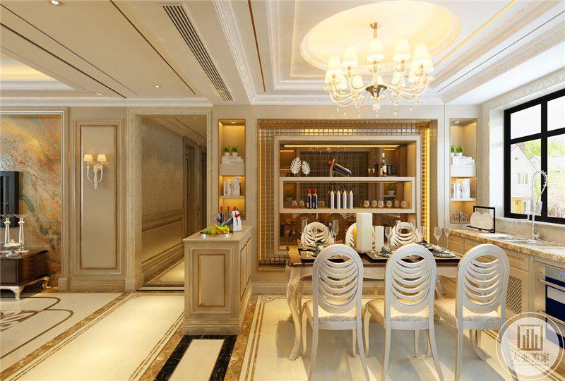 在餐桌的一侧设置了红酒柜,乳白色的餐椅十分的精致优雅。