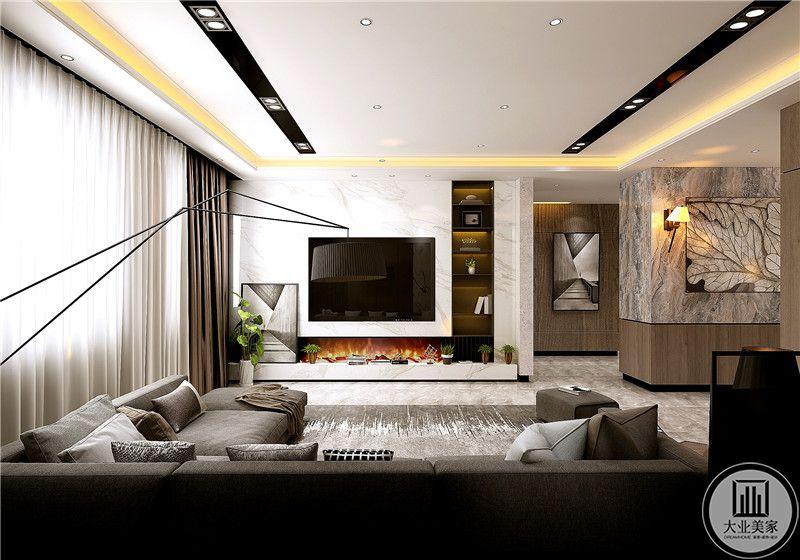 客厅电视嵌入到墙面,影视墙采用白色大理石,一侧做嵌入式收纳柜,电视柜被大理石台面取代。
