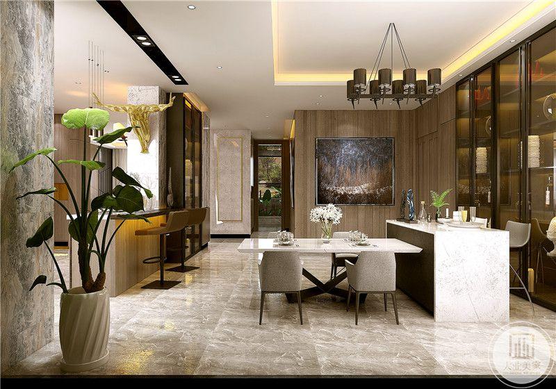 餐厅餐桌采用金属框架搭配白色大理石桌面,餐椅采用灰色实木框架的椅子。