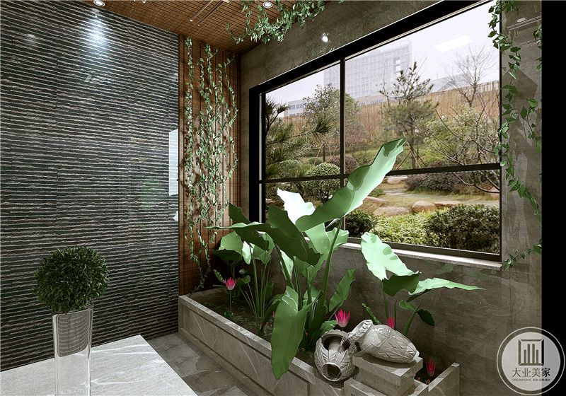 阳台采用大理石为主,搭配实木墙板和绿植。