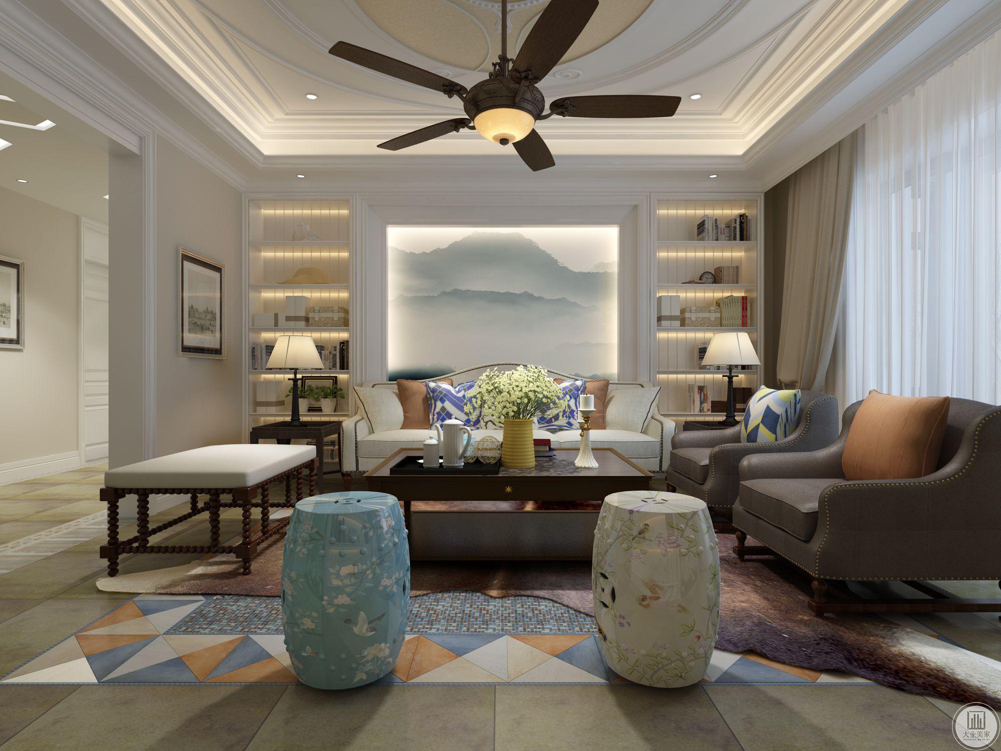 客厅基础色调为白色,在白色基础上添加了深木色的茶几和蓝色的凳子以使空间更加温暖,显示出北欧色彩。