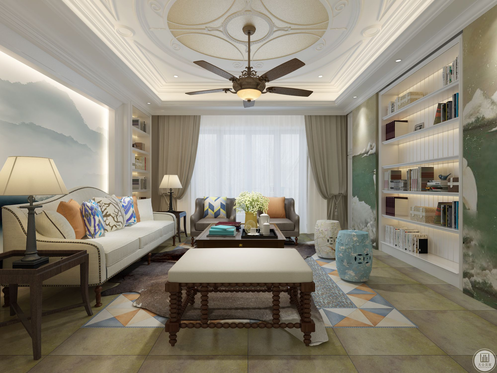 客厅窗帘选择了浅棕灰色,看着温柔自然。