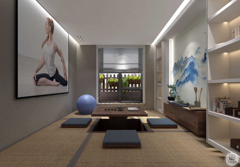 休闲室采用可升降式榻榻米,窗户做成花园式的效果,一侧采用中式水墨风格的壁纸。