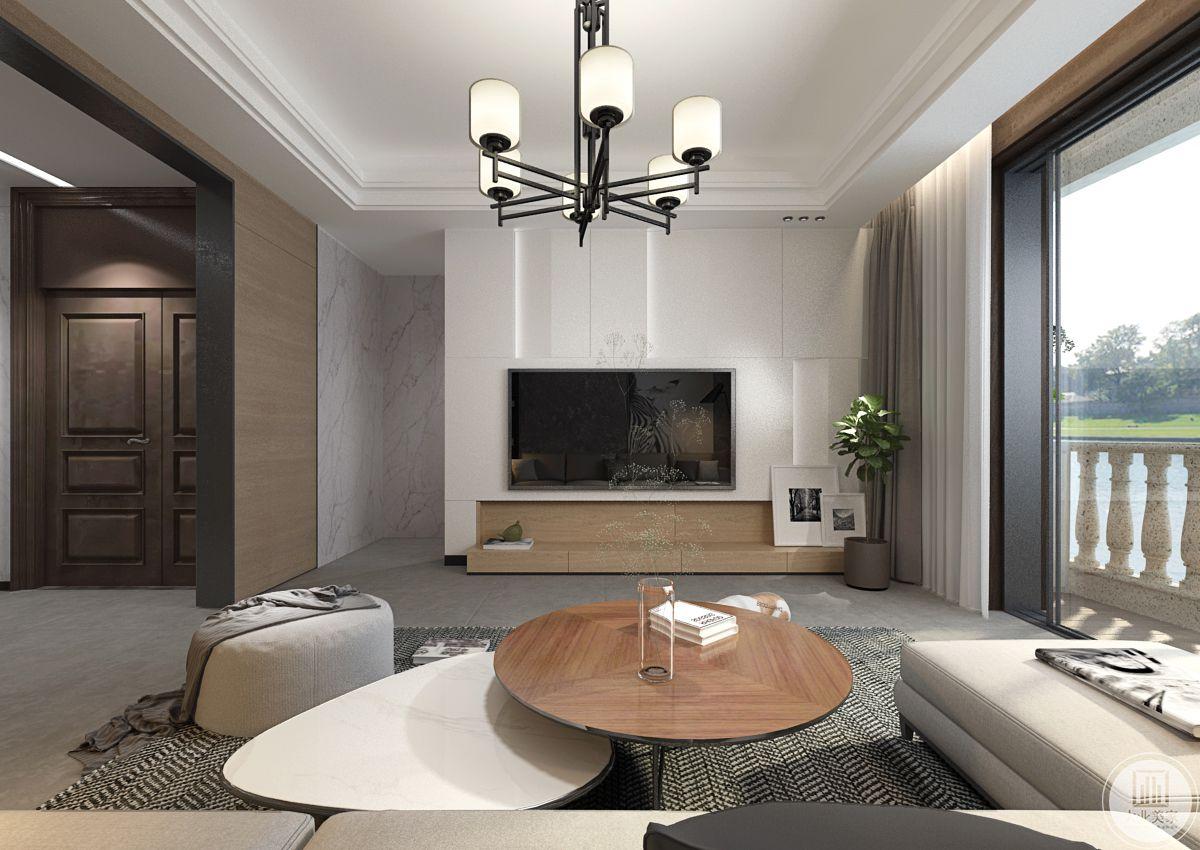 影视墙采用白色大理石设计,电视柜采用实木抽屉。